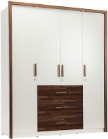 Durian MARK Solid Wood 4 Door Wardrobe(Finish Color - Frosty White/Dark Oak)