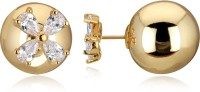 Spargz Gold Plated Front and Back Double Sided Ball Flower Earrings Diamond Alloy Stud Earring