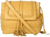 JL Collections Women Yellow Genuine Leather Shoulder Bag