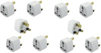 View Axxel UK Universal Flat Pin 3 Pin Pack Of 10 Pcs Travel Power Plug Adaptor Worldwide Adaptor(White) Laptop Accessories Price Online(Axxel)