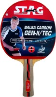 Stag Balsa Carbon gen 2 With Deluxe Case Table Tennis Racquet Flat Grip Unstrung(Red, Black, Weight - 195 g)