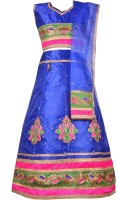 Aarika Baby Girls Lehenga Choli Ethnic Wear Embroidered Lehenga, Choli and Dupatta Set(Blue, Pack of 1)