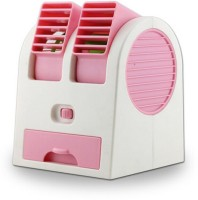 View NewveZ Portable Mini Air Conditioner Dual-Port Bladeless USB Fan(Pink, White) Laptop Accessories Price Online(NewveZ)