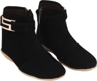 ABJ Fashion S Buckle Women's Stylish Black Boots For Women(Black)