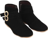 ABJ Fashion Double Buckle Women's Stylish Black Boots For Women(Black)