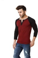 Urbano Fashion Solid Men's Henley Maroon T-Shirt