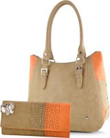 Butterflies Hand-held Bag(Beige, Orange)
