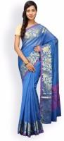 Pavechas Solid Banarasi Cotton, Silk Saree(Blue)