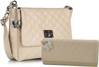 Butterflies Women Beige PU Sling Bag