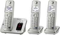 View Panasonic Link2Cell Bluetooth® Corldess Phone with Large Keypad - 3 Handsets (KX-TGE273S) Cordless Landline Phone with Answering Machine(Silver) Home Appliances Price Online(Panasonic)