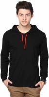 Urbano Fashion Solid Men's Hooded Black T-Shirt