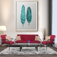 FurnitureKraft Florence Fabric 3 + 1 + 1 Maroon Sofa Set