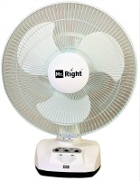 """Mr. Right MR-2912 AC/DC 12"""" Oscillating Rechargeable Wall Plus 3 Blade Table Fan(White)"""