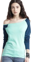 Roadster Solid Women Round Neck Blue T-Shirt