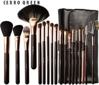 Cerroqreen Makeup Brushes Cosmetic Brush Set With Goat Hair Pony Hair Leather Traverl Pouch Bag Case (golden)(Pack of 18)