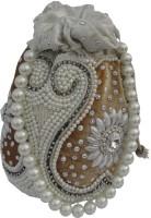 ALAR Handmade Potli Bag with Beadwork Mobile Pouch(White)
