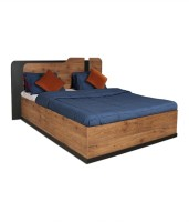 View Crystal Furnitech Engineered Wood Queen Bed With Storage(Finish Color -  Natural Pine+Black) Furniture (Crystal Furnitech)