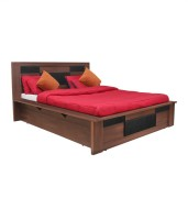View Crystal Furnitech Engineered Wood Queen Bed With Storage(Finish Color -  Wallnut & black) Furniture (Crystal Furnitech)