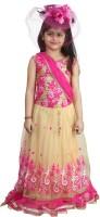 Crazeis Girls Lehenga Choli Ethnic Wear Embroidered Lehenga Choli(Pink, Pack of 1)