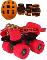 Cosco Zoomer Skates and Protective Kit ( Junior ) Quad Roller Skates - Size 31-34 Euro(Orange, Red)