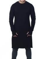UZEE Solid Men's Round Neck Black T-Shirt