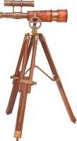 Kartique Antique Style Double Barrel Brass brown leather with wooden tripod Refracting Telescope(Manual Tracking)
