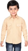 Ice Blue Boys Solid Casual Gold Shirt