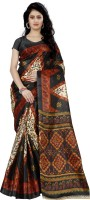 Wama Fashion Floral Print, Graphic Print Fashion Silk Saree(Brown)