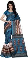 Wama Fashion Floral Print, Graphic Print Fashion Silk Saree(Blue)
