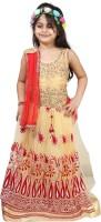 Crazeis Girls Lehenga Choli Ethnic Wear Embroidered Lehenga Choli(Red, Pack of 1)