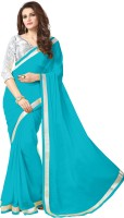 onlinefayda Solid Bollywood Georgette Saree(Light Blue)
