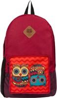 Chumbak Classic Owl Backpack(Red, 1)