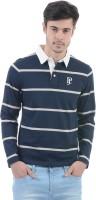 Pepe Jeans Striped Men's Polo Neck Dark Blue T-Shirt