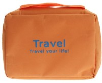 Italish Portable Cosmetic Makeup Pouch Travel Toiletry Zipper Storage Hanging Bag Travel Toiletry Kit(Orange)