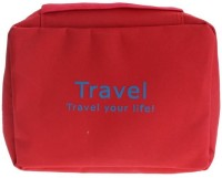 Italish Portable Cosmetic Makeup Pouch Travel Toiletry Zipper Storage Hanging Bag Travel Toiletry Kit(Red)