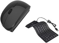 View NewveZ Silicone Rubber Waterproof Flexible Foldable Wired USB Keyboard With Slim Wireless Mouse Combo Set(Black) Laptop Accessories Price Online(NewveZ)