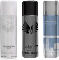 Police Contemporary Titanium Light Blue Deodorant Spray  -  For Men(600 ml, Pack of 3)