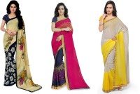 Kashvi Sarees Printed Fashion Faux Georgette Saree(Pack of 3, Multicolor)
