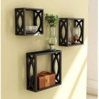View Simran Handicrafts MDF Wall Shelf(Number of Shelves - 3, Black) Furniture (Simran Handicrafts)