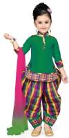 Aarika Girls Festive & Party Kurti, Patiala and Dupatta Set(Green Pack of 1)