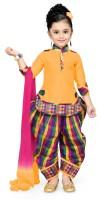 Aarika Girls Festive & Party Kurti, Patiala and Dupatta Set(Yellow Pack of 1)