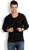 Rodid Solid Men's Henley Black T-Shirt