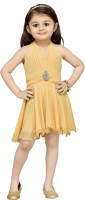 Aarika Girls Midi/Knee Length Party Dress(Beige, Sleeveless)