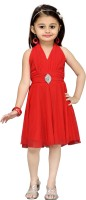 Aarika Girls Midi/Knee Length Party Dress(Red, Sleeveless)