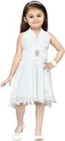 Aarika Girls Midi/Knee Length Party Dress(White, Sleeveless)