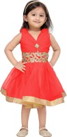 Aarika Midi/Knee Length Party Dress(Red, Sleeveless)