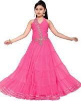 Aarika Girls Maxi/Full Length Party Dress(Pink, Sleeveless)