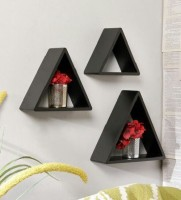 View Qesyas Iron Wall Shelf(Number of Shelves - 3, Black) Furniture (Qesyas)