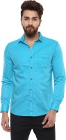 Mufti Men Solid Casual Blue Shirt