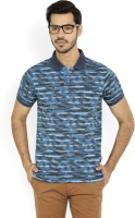 Lee Striped Men's Polo Neck Blue T-Shirt
